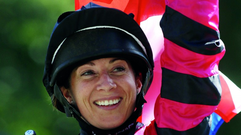 Hayley Turner: celebrating Shergar Cup success but will be the other side of the camera at this year's Ascot meeting