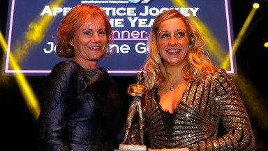 Lisa Delany presenting Josephine Gordon with Apprentice Jockey of the Year at the Lesters