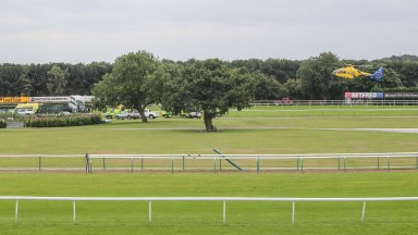 The air ambulance arrives at Haydock on Friday