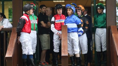 jockeys in the first wear black armbandst to remember STEPHEN YARBORUOGH who was killed yesterday - Haydock Park 22/7/17Photograph by Grossick Racing Photography 0771 046 1723