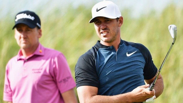 Brooks Koepka (right) can defeat Ian Poulter (left)