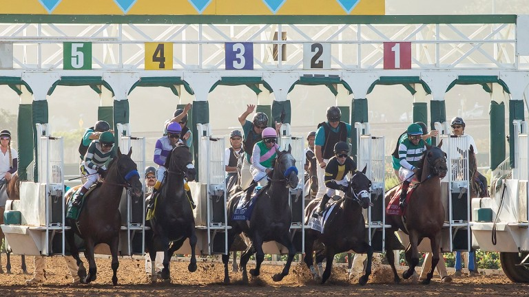 Accelerate (Victor Espinoza) breaks from the inner before making all to win the San Diego Handicap, with world champion Arrogate in the centre after exiting gate three