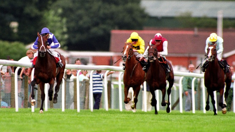 1992 King George VI and Queen Elizabeth Diamond Stakes: St Jovite powers home six lengths clear of (right to left) Saddlers' Hall, Opera House and Sapience