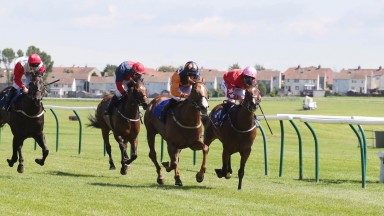CHEENI Ridden by P. J. McDonald (Centre) wins at Ayr to compleate at 1st 2nd 3rd 4th for trainer Jim Goldie at Ayr 24/7/17Photograph by Grossick Racing Photography 0771 046 1723