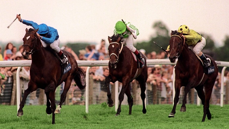 Swain (left) beat High-Rise (right) and Royal Anthem to win his second King George