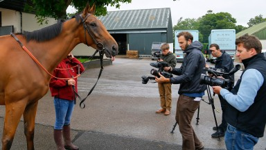Big Orange with the press atFitzroy House stablesNewmarket 24.7.17©cranhamphoto.com