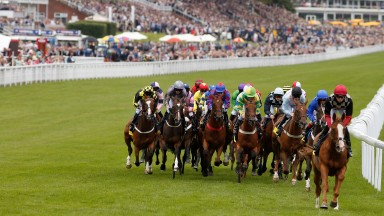 CHICHESTER, ENGLAND - JULY 29: William Twiston-Davies riding Sands Of Fortune (R, red cap) lead all the way to win The Victoria Racing Club Goodwood Stakes at Goodwood racecourse on July 29, 2015 in Chichester, England. (Photo by Alan Crowhurst/Getty Imag