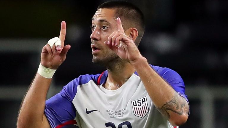 Clint Dempsey celebrates his goal against Costa Rica