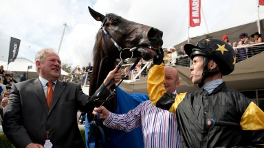 Jim Goldie and Hawkeyethenoo and Graham Lee after winning the Stewards' Cup Glorious Goodwood 4.8.12 Pic: Edward Whitaker