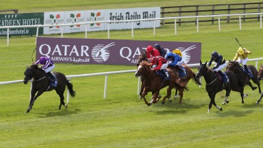 Curragh Sun 16 July 2017 Picture: Caroline Norris    Spirit Of Valor ridden by Ryan Moore winning The Qatar Airways Minstrel Stakes from So Beloved ridden by Daniel Tudhope, 2nd, black with yellow hoop, Stormy Antarctic ridden by Jamie Spencer, 3rd, black