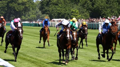 Stephane Pasquier (white cap, centre) and Senga bridge a 12 year gap for the Niarchos family in winning the 2017 Prix de Diane Longines