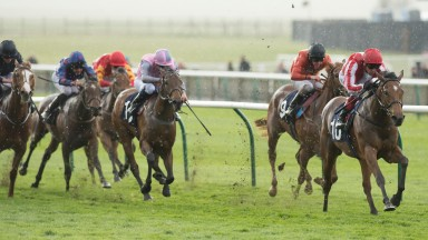Nathra (Frankie Dettori) wins the Nell Gwyn Stakes at Newmarket last spring
