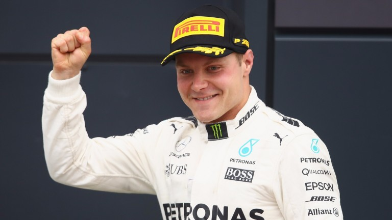 Valtteri Bottas celebrates after his second-place finish at Silverstone