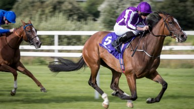 Happily puts daylight between herself and her rivals to land the Group 3 Silver Flash Stakes at Leopardstown
