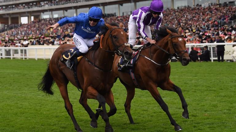 Oison Murphy on Benbatl wins the Hampton Court Stakes at Royal Ascot