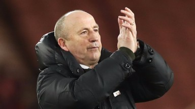 John Coleman salutes the Accrington fans after the 1-0 FA Cup defeat at Middlesbrough
