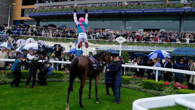 Frankie Dettori executes a flying dismount off Enable after the King George at Ascot in 2017