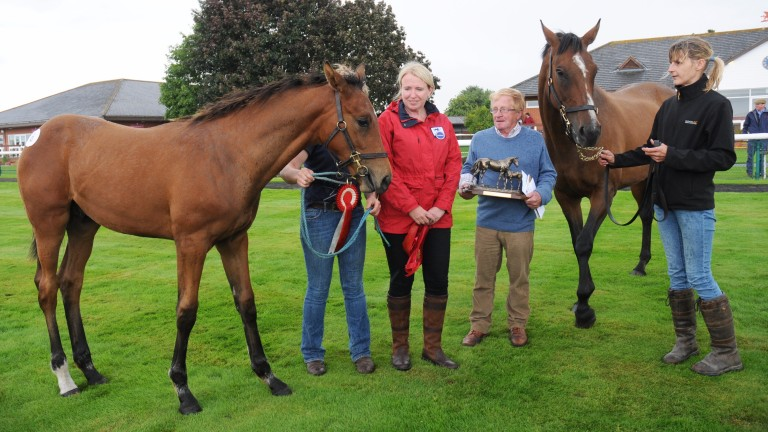 Claire Sheppard (red), chief executive of the Thoroughbred Breeders' Association, presents David Ford with the winning prize for the champion Kayf Tara colt out of Lifestyle