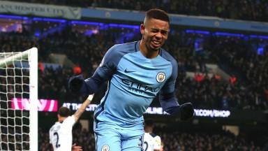 Gabriel Jesus celebrates for Manchester City