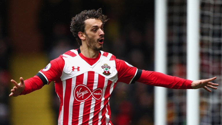 Manolo Gabbiadini celebrates scoring for Southampton