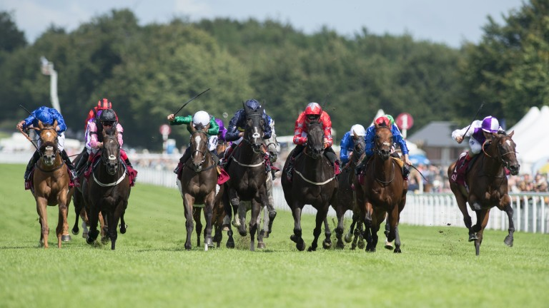 Breton Rock (Andrea Atzeni,right) wins the Lennox StakesGoodwood 1.8.17 Pic: Edward Whitaker