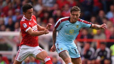 Forest's Zach Clough battles with Jeff Hendrick of Burnley in pre-season