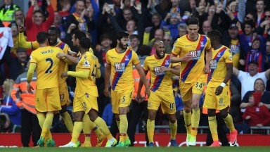 Crystal Palace celebrate a goal at Anfield