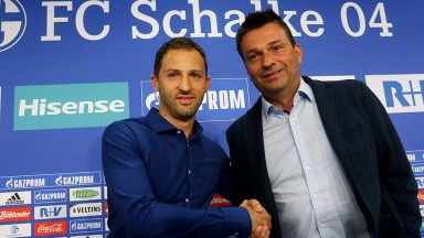 Schalke sporting director Christian Heidel (right) welcomes 31-year-old coach Domenico Tedesco to the Royal Blues