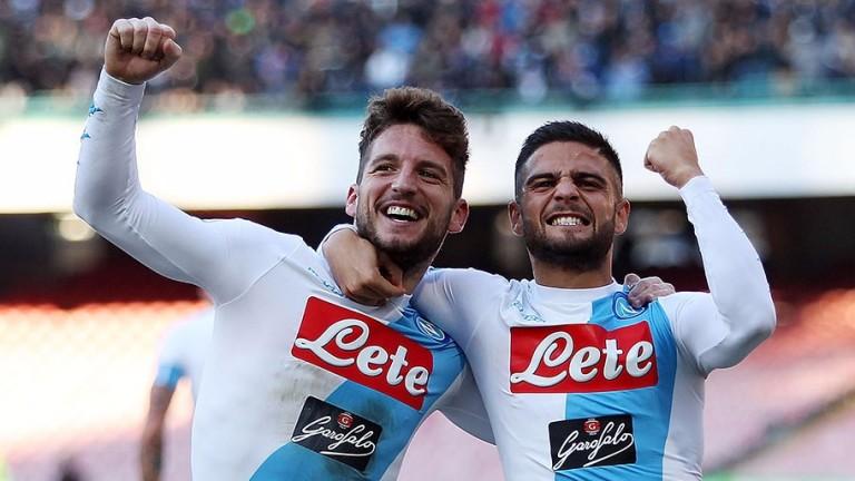 Napoli forwards Dries Mertens (left) and Lorenzo Insigne