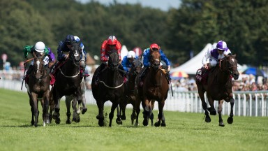 Last-gasp: Breton Rock (right) swoops late to land the Group 2 Lennox Stakes under an inspired Andrea Atzeni