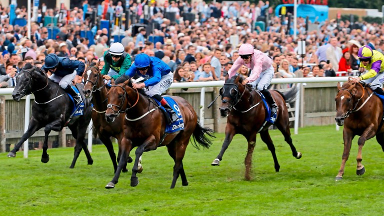 Harry Angel and Adam Kirby win the July Cup, part of the Global Sprint Challenge