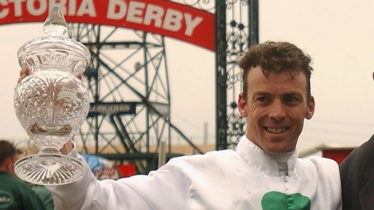 Steven King, pictured after winning the 2002 Victoria Derby, has announced his retirement