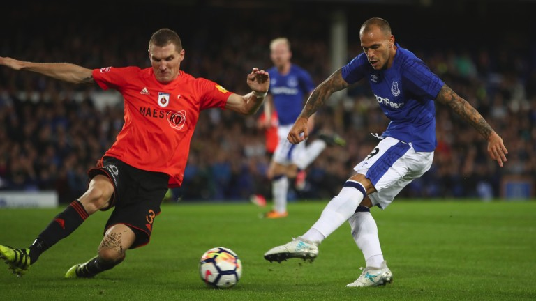 Everton's Sandro takes a shot