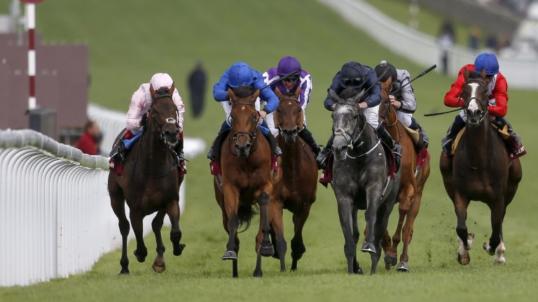 Winter (dark blue) passes Sobetsu en route to landing the Nassau Stakes