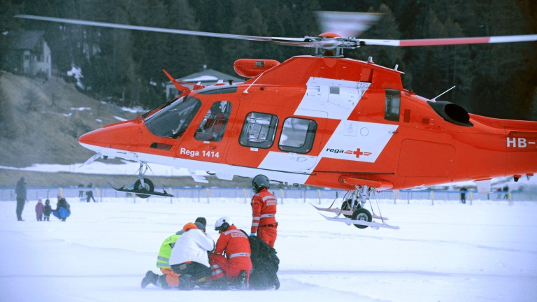 The beginning of the nightmare: Baker is airlifted to hospital after his fall at St Moritz