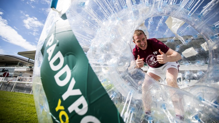 Galway: four-time all-star hurler Ollie Canning celebrates winning the inaugural Paddy Power Zorbing Derby