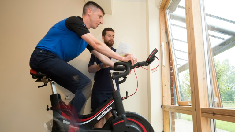 Baker with physiotherapist Rob Treviss at Oaksey House during his rehabilitation