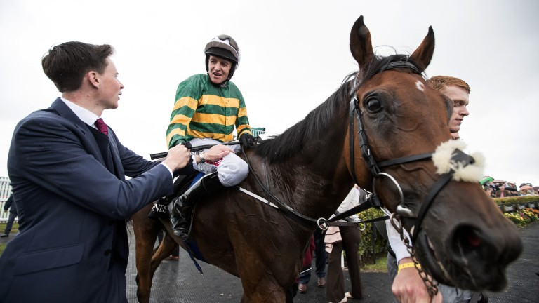 Goodwood: trainer Joseph O'Brien congratulates Barry Geraghty after the pair's Galway Hurdle victory with Tigris River