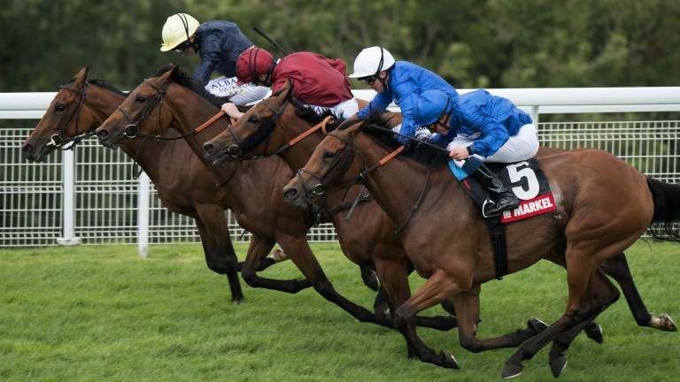 Goodwood: Endless Time and William Buick (nearside) make their move to land the Lillie Langtry Stakes