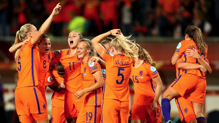 The Dutch girls celebrate reaching the final