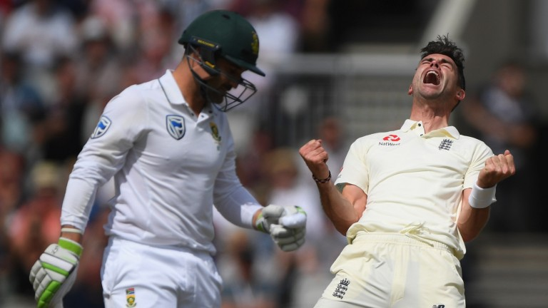 England bowler James Anderson celebrates after dismissing South Africa batsman Dean Elgar