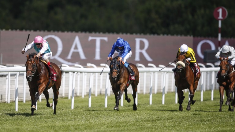 Expert Eye (left) stretched clear of the field in the Vintage Stakes at Glorious Goodwood