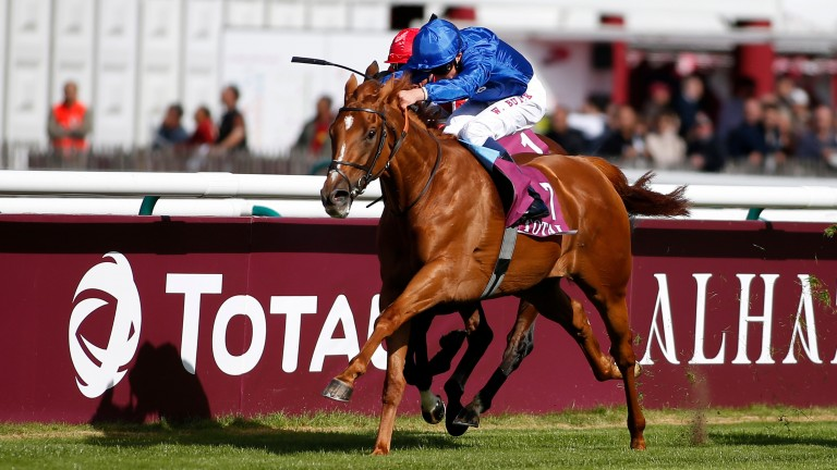 Wuheida: Godolphin filly filled third after front two pulled clear