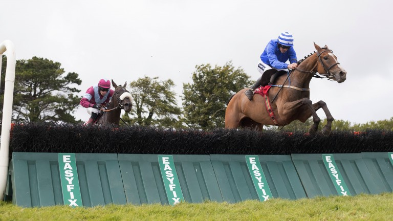 Bright Button: the Willie Mullins-trained Ben Button (right) justifies favouritism in the 3m handicap hurdle under Ruby Walsh