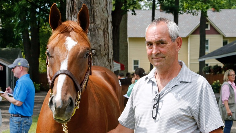Gabriel Duignan with Hip 202, a striking chestnut colt by Curlin