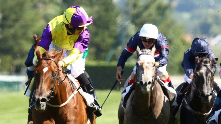 Brando and Tom Eaves (left) take the Prix Maurice de Gheest for trainer Kevin Ryan in 2017