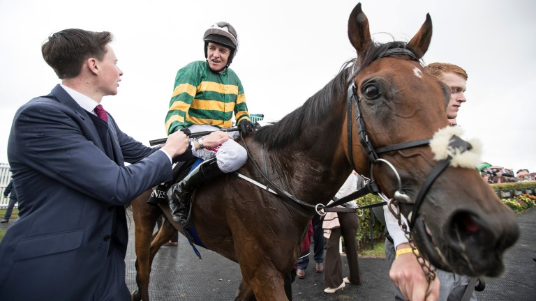 Tigris River and Barry Geraghty are greeted by Joseph O'Brien after winning the Guinness Galway Hurdle