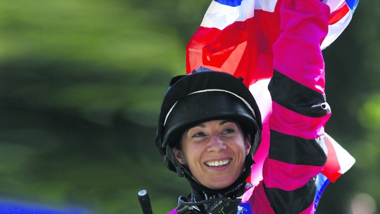 Hayley Turner, pictured after winning last year's Shergar Cup Mile, will now be riding for the Girls team on Saturday