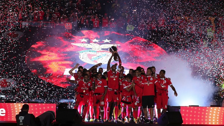 Benfica celebrate winning the Portuguese Super Cup