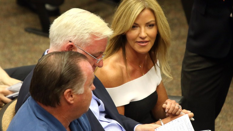 Kerri Radcliffe, seated alongside husband Jeremy Noseda, continued her remarkable spree for Phoenix Thoroughbreds at Saratoga